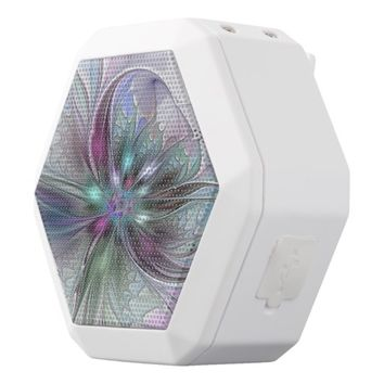Colorful Fantasy, abstract and modern Fractal Art White Bluetooth Speaker