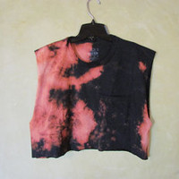 Cool, Grunge, Punk, Soft Grunge, Teen, Black, Bleached Tie Dye T-Shirt// Cropped Summer Tank// Grunge Hipster Tumblr Shirt