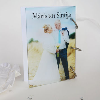 Wedding Guest Book Modern design Transparent organic glass, Personalized with names and Your Photo