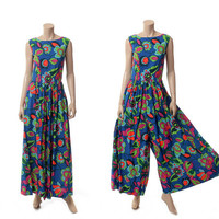 Vintage 60s Andrade Hawaii Palazzo Jumpsuit 1960s Mod MCM Floral Hawaiian Resort Wide Leg Pants Tiki Luau Maxi Dress
