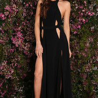 Black Halter Cutout Open Back Maxi  Dress