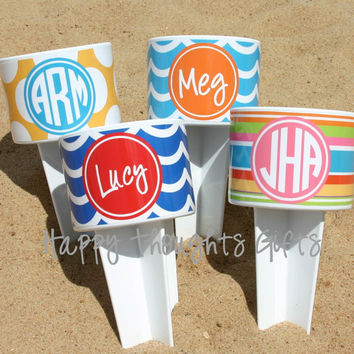 FOUR Monogrammed Beach Drink Holders Sand Spiker with Vinyl Wrap Personalization