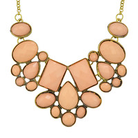 Pink Imitation Gemstone Chunky Statement Necklace -SheIn(Sheinside)