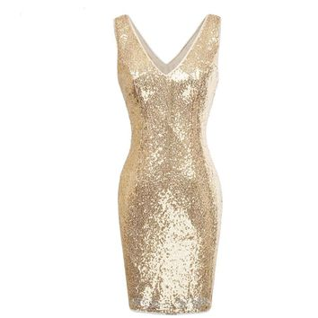 Sparkly Gold Sequins Dresses Woman Evening Party Dress Deep V Neck Knee Length Pencil Short Dress