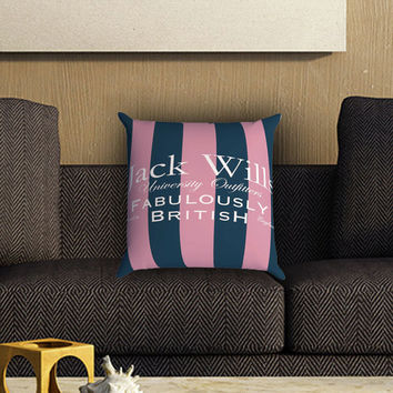 Jack Wills Stripes Pattern Pillow Cover , Custom Zippered Pillow Case One Side Two SIde