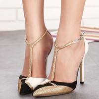 Shinning Rhinestone Low Cut Ankle Wrap Stiletto High Heels