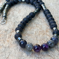 Classy Mens Healing Stones Necklace Natural Gemstone Necklace Spiritual Protection Black Lava Amethyst Iolite Labradorite Hematite Pyrite