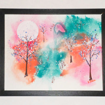 Spiritual art; Original watercolor; OOAK wall hanging; Unframed wall art; Signed painting; Original painting; River Trees wall decor