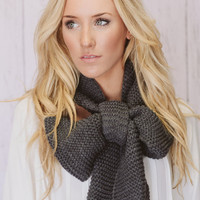 Knitted Bow Scarf Chunky Neck Warmer Wrap Smoke Gray (SCBW-02)