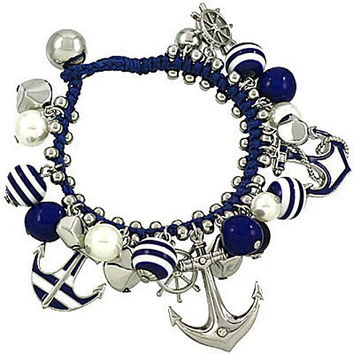 Anchor and Helm Rope and Nautical Charm Bracelet Silver