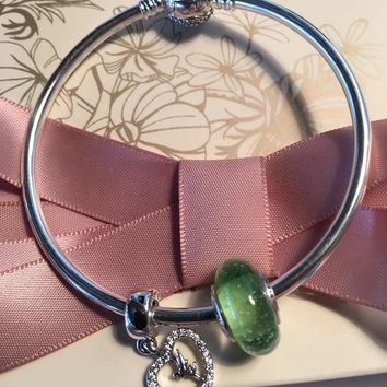 Authentic Pandora Disney Beauty And The Beast Bangle, Tinkerbell Two Charm Gift Set, M