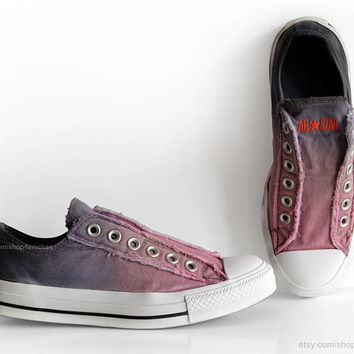 Ombré dip dye Converse, blossom pink, blue grey, slip-on sneakers, tie dye, transformed vintage shoes, EU 37 (UK 4.5, us men 4.5, us wo 6.5)