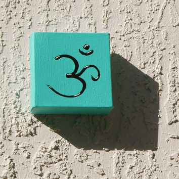 Om acrylic paint pop art wall decor turquoise blue