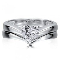 Sterling Silver 925 Heart Cut Cubic Zirconia CZ Solitaire 2pc Ring Set #r616