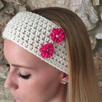 Crochet Headband with Two Pink Satin Flowers  Women's Hairband, Crochet Headwrap, Fall, Winter Headband -  READY TO SHIP!