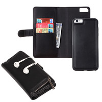 Fashion Magnetic 2 in 1 Wallet Leather Detachable Case For Iphone 6 6s  6 6s plus Lady Leather Zipper Handbag Wallet Phone Case
