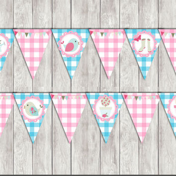 INSTANT DOWNLOAD Printable chic garden Banner Decorations Diy Shower Supply party printable,garden,picnic party