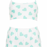 Heart Print PJ Set - White