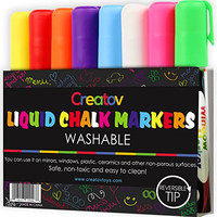 Liquid Chalk Washable Markers, 8 Colored Chalk Markers, Neon & White, Safe & Easy to Use, Non-Toxic, Great For All Ages, By Creatov