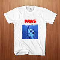 Paws Cat   shirt men  Poster Paws  t-shirt  Cat  tee Paws tee Stump white