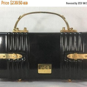 a4dca616eb86c Now On Sale Vintage Crown Lewis Black Box Handbag Purse - Gold T