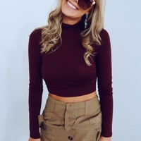 Crisp Mornings Top: Burgundy