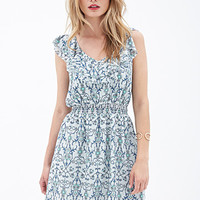 LOVE 21 Viney Floral Flounce Dress Sage/Teal