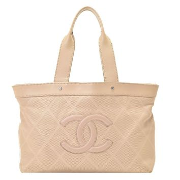 Authentic Chanel Punch Women's Leather Tote Bag Dark Beige 800000060187000