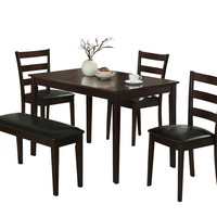 Cappuccino 5 Piece Dining Set (Includes 1 Bench and 3 Side Chairs)
