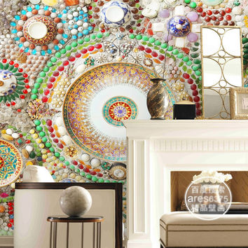 Bohemian Wallpaper 3D Wall Mural Bedroom Jade Mosaic Wallpaper Hotel Room Decor Ceiling Wall Covering Modern Home Decoration