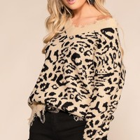 Natural Charm Tan Leopard Distressed V-Neck Sweater