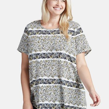 Lucky Brand Printed Basic Tee Womens - White/Multicolor
