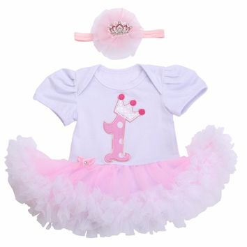 2017 Spring/Autumn Kids Girls Short Sleeve Lace Dress 1 Year Birthday Dress;Cute Pink Baby Girl 3D Cake Tutu Dress Vestidoes 2PC
