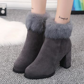 On Sale Hot Deal Zippers Winter Dr. Martens England Style Pointed Toe High Heel Matte Boots [256906756122]