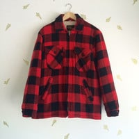 1960s Men's Work Jacket / Red + Black Buffalo Plaid / Wool / Faux Shearling / Size M / 60s Vintage