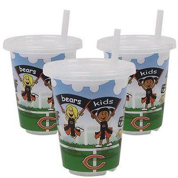 Chicago Bears NFL 10 oz Sip n Go Plastic Cups (Set of 3) BPA Free