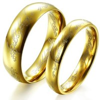 Fashion Ring the Lord of the Rings Couple Jewelry Stainless Steel Wedding Ring 320 W7