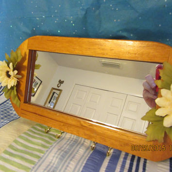 Up-Cycled Cottage Chic Wooden Mirror With Hooks - Off White Flowers and Green Leaves for Accents