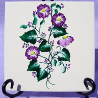 Hand Painted Ceramic Trivet with Purple Folwers