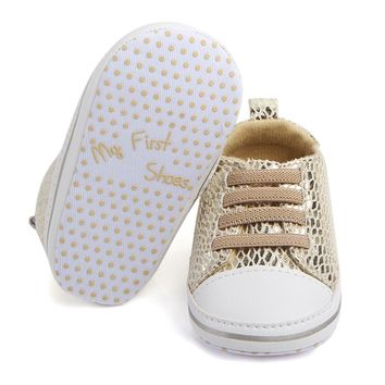 """""""My First Shoes"""" Soft Bottom Sole Bling Mesh Anti-slip Shoes"""