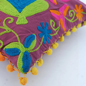 Suzani Cushion Cover Handmade Woolen Embroidery Colorful Home Decor Turkish Designs Cotton Pillow Case With Pom Pom Decorative Pillow Ethnic