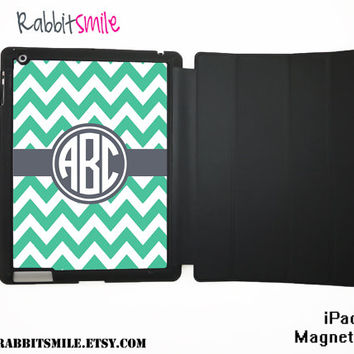 Personalized Monogram iPad 4 Case / The new iPad 3 / Monogrammed iPad Smart Cover / Flip Case / Magnetic Case - Mint Gray Chevron