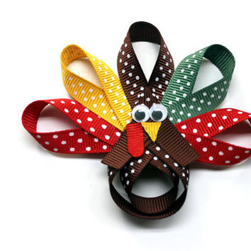 Turkey hair bow Thanksgiving hair clip Turkey sculpture hair clip for girls Turkey hair bow for infants toddlers baby Holiday hair clips