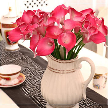 Mini Calla Lily Artificial Flower Desk Décor Wedding Bouquet Floral Decoration JH008