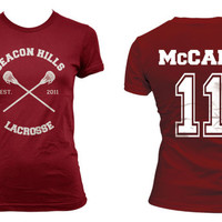 Beacon Hills Lacrosse CRS McCall 11 Scott Mccall on Women tee Maroon on Maroon Women tee