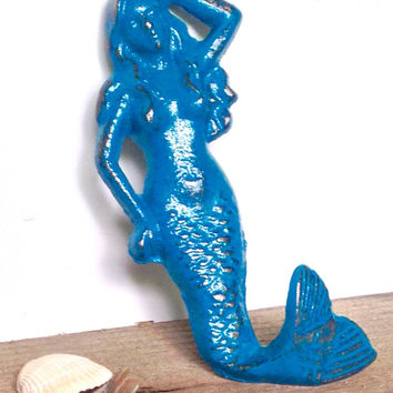 Teal Blue Mermaid Hook - Bathroom Wall Hooks - Jewelry Hooks - Mermaid Bathroom Decor - Beach Decor - Wall Key Holder - Coastal Wall Decor