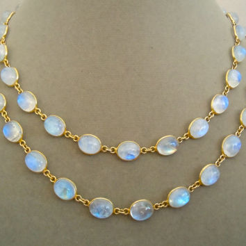 """NEW Chantalle -- One of a Kind -- 38"""" Long Rainbow Moonstone Connector Necklace"""