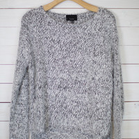 Fuzzy Heathered Knit Sweater