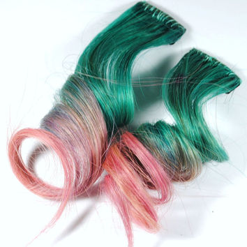 Turquoise extension, blue human hair clip in, human hair extension / Pink Turquoise / Long Tie Dye Colored Hair // Cotton candy