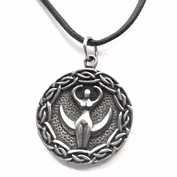 Nile Goddess Egyptian Mother Goddess Pendant Pewter Necklace 0.75H